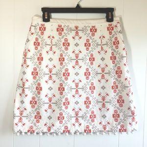 Anthropologie Maeve Embroidered Mini Skirt